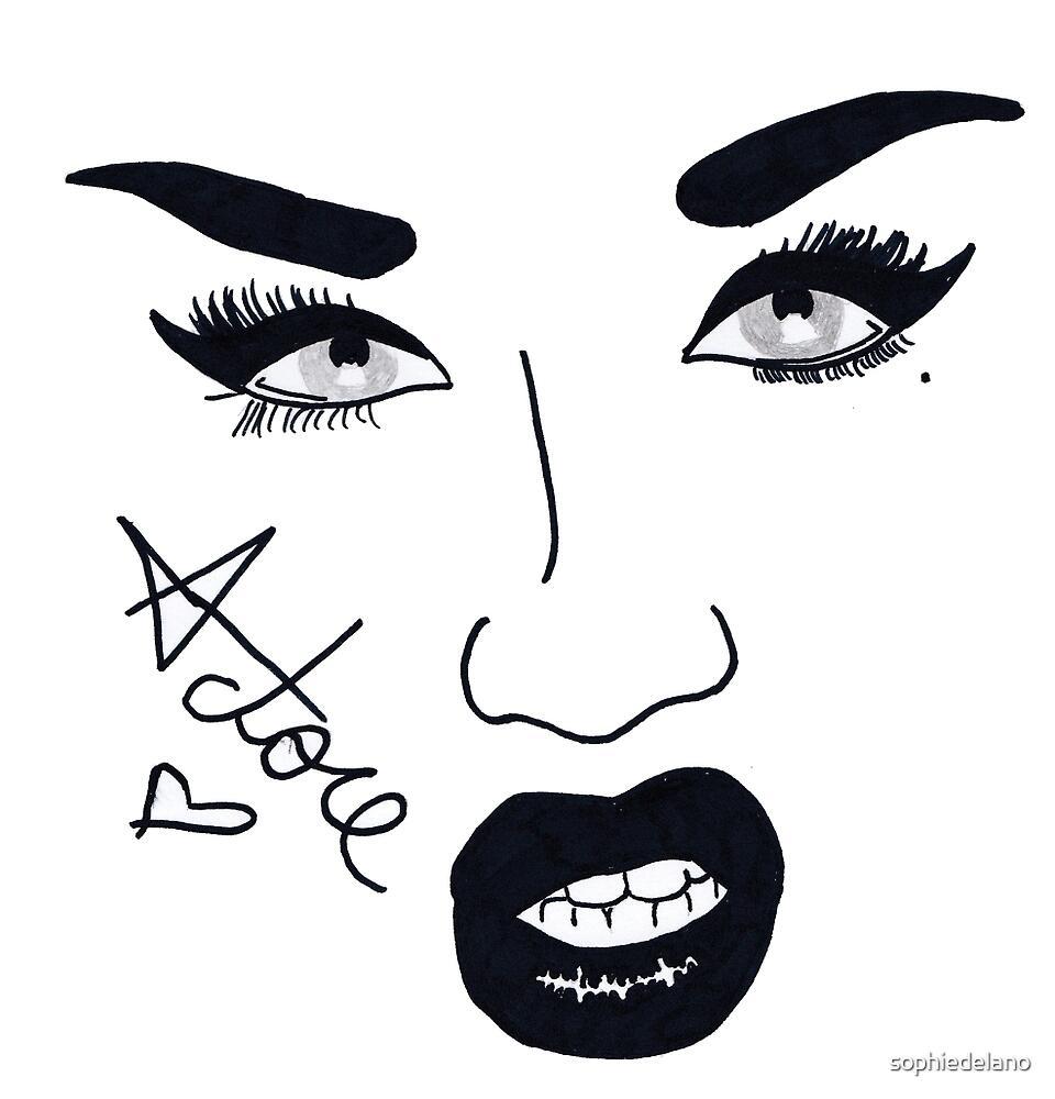 Adore delano pen drawing by sophiedelano