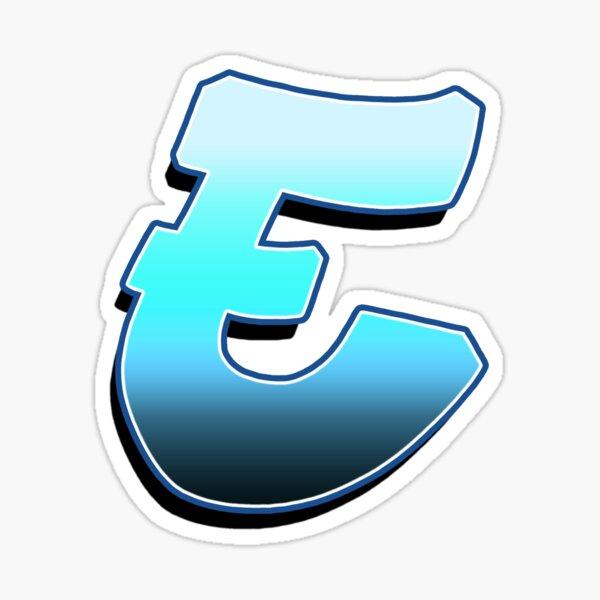 Letter E - Blue Fade Sticker