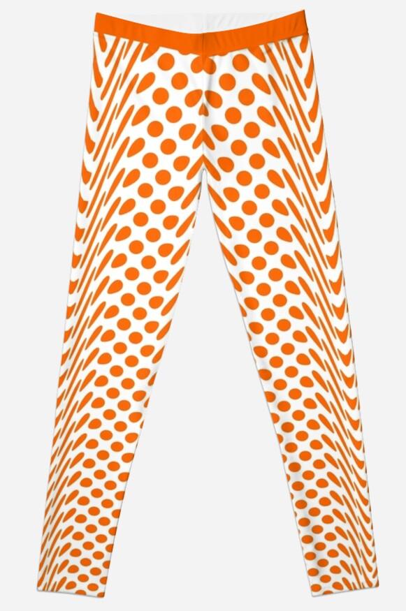 Rich Orange Warped Polka Dot (Large Spots) Leggings by SeaFruit