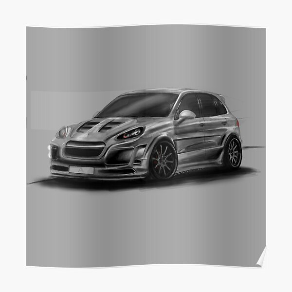Porsche Cayenne Gray Artrace body-kit Poster