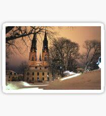 Uppsala Cathedral, winter wonderland Sticker