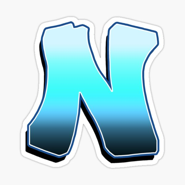 Letter N - Blue Fade Sticker