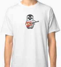 Baby Penguin Playing Austrian Flag Guitar Classic T-Shirt