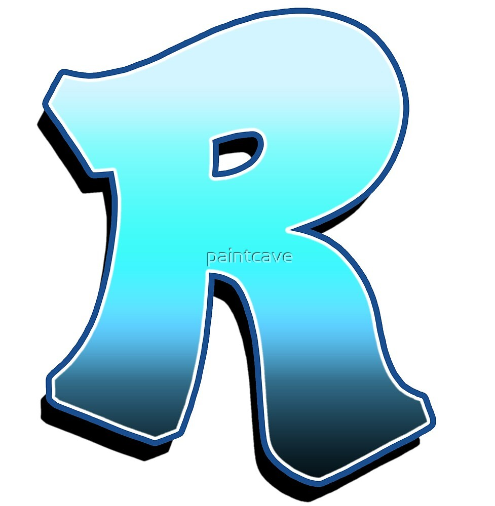 Letter R - Blue Fade by paintcave