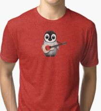 Baby Penguin Playing Japanese Flag Guitar Tri-blend T-Shirt