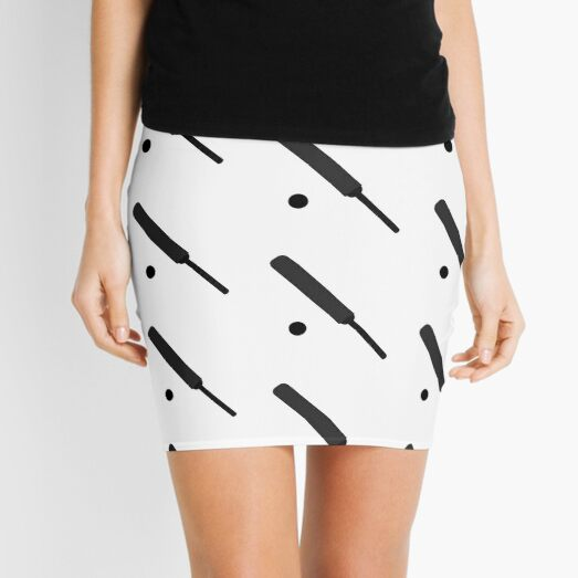 Silhouetted Cricket Bat and Ball Patterned Mini Skirt