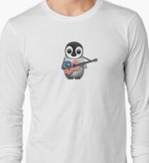 Baby Penguin Playing Malaysian Flag Guitar Long Sleeve T-Shirt