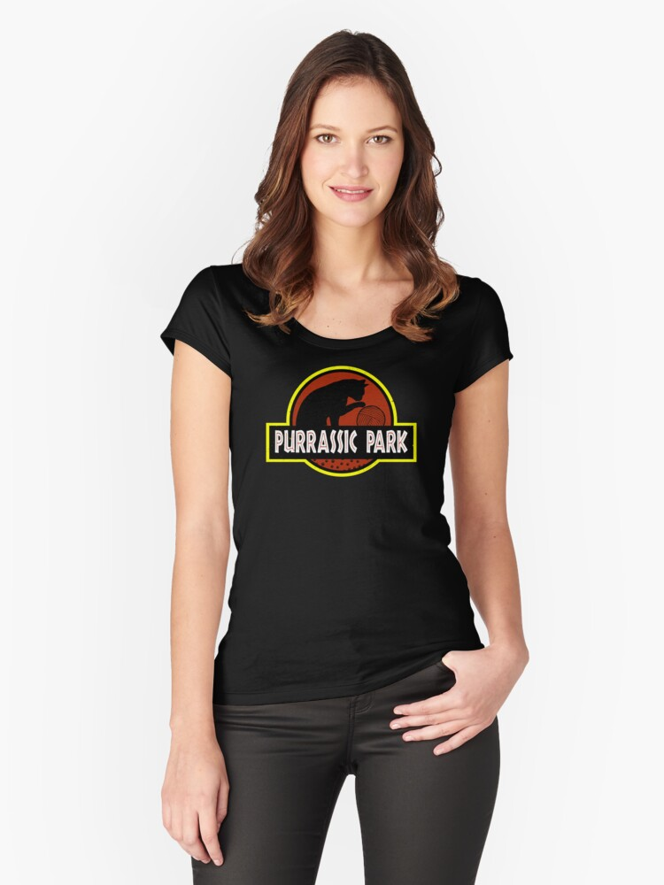 Purrassic Park Women's Fitted Scoop T-Shirt Front