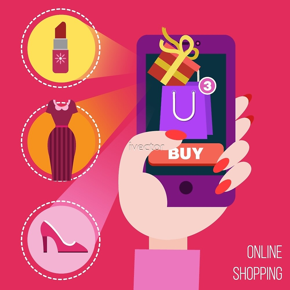 Concept of Mobile Online Shopping by ivector