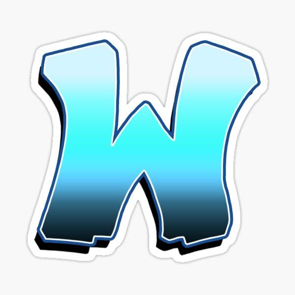 Letter W - Blue Fade Sticker