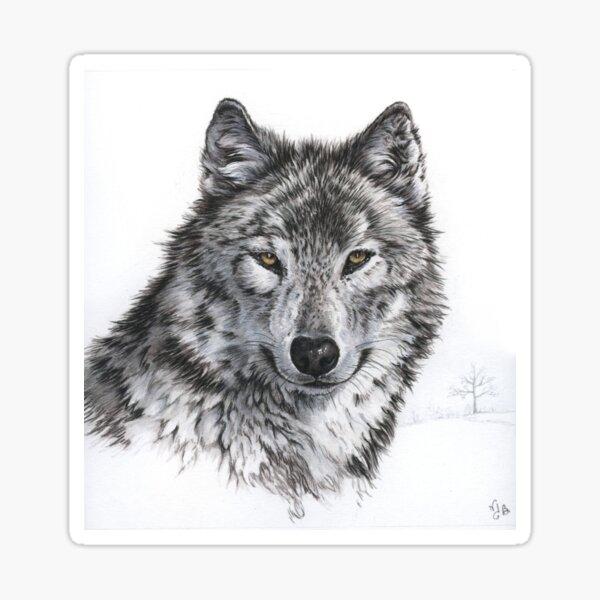 Loup dans un paysage de neige Sticker
