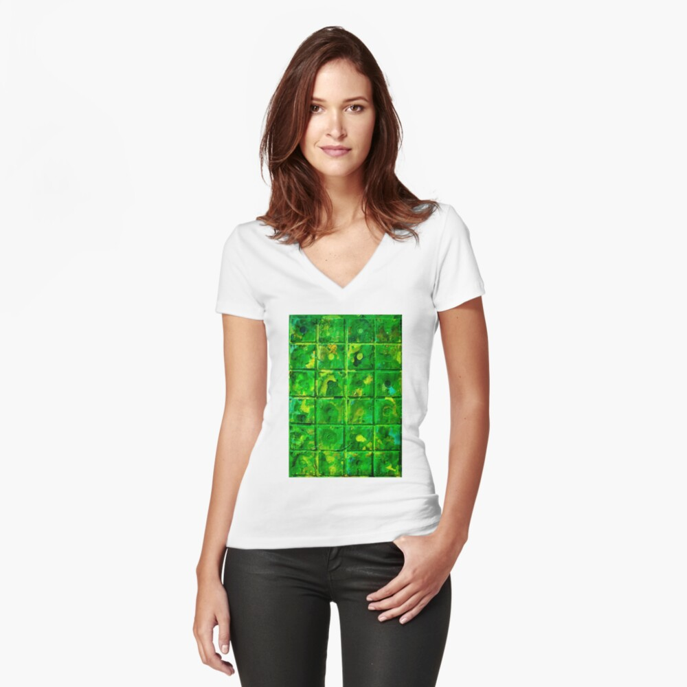 Green Women's Fitted V-Neck T-Shirt Front