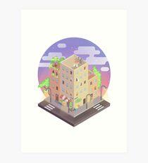 isometric city block - Evening ☾ Art Print