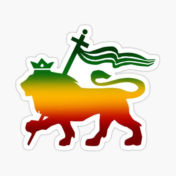 Löwe von Judah Rasta Reggae wurzelt Jamaika-König Flag Sticker