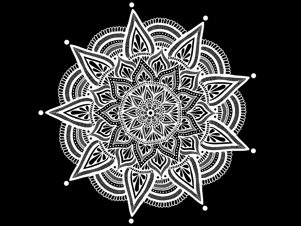 White mandala on black background.  by art-and-soul