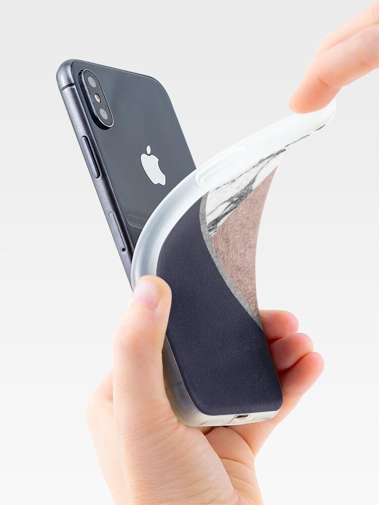 Alternative Ansicht von Marmor Rose Gold Marineblau Dreieck Geometrisch iPhone-Hülle & Cover