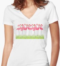 Camiseta entallada de cuello en V Pink Flamingos Illustration