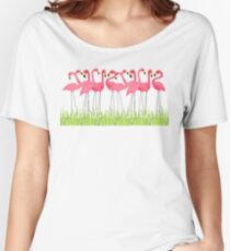 Pink Flamingos Illustration Women's Relaxed Fit T-Shirt