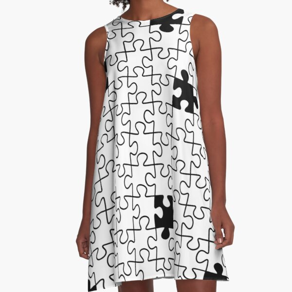 The Missing Piece - Abstract Jigsaw Puzzle Black and White A-Line Dress