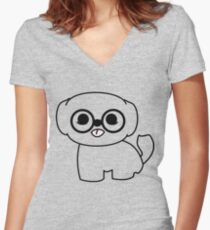 Shih Tzu Puppy with Glasses Women's Fitted V-Neck T-Shirt