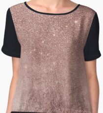 Girly Glam Pink Rose Gold Foil and Glitter Mesh Chiffon Top