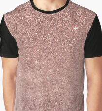 Girly Glam Pink Rose Gold Foil and Glitter Mesh Graphic T-Shirt