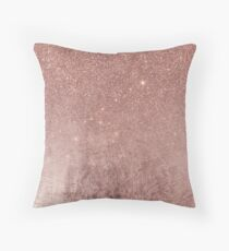 Girly Glam Pink Rose Gold Foil and Glitter Mesh Throw Pillow