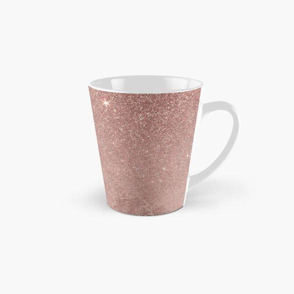 Girly Glam Pink Rose Gold Foil and Glitter Mesh Tall Mug