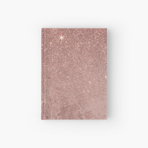 Girly Glam Pink Rose Gold Foil and Glitter Mesh Hardcover Journal