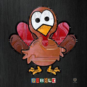 Gobble Turkey Thanksgiving License Plate Art by designturnpike