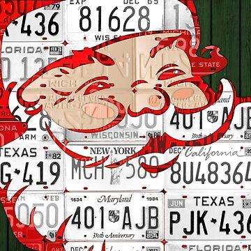 Ho Ho Ho Santa Recycled Vintage License Plate Art by designturnpike