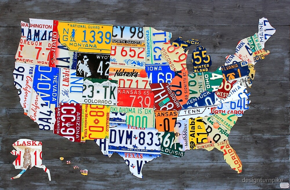 License Plate Map of America on Gray 2017 Edition by designturnpike