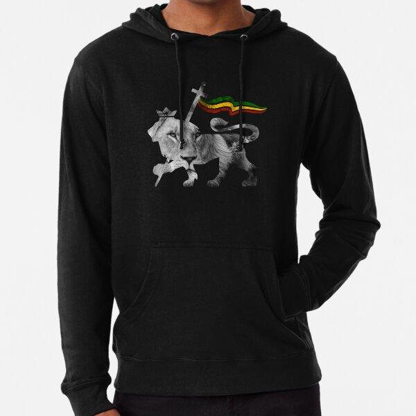 Diseño de reggae del rey Rasta del León de Judá Sudadera ligera con capucha