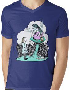 Hookah Smoking Caterpillar Mens V-Neck T-Shirt