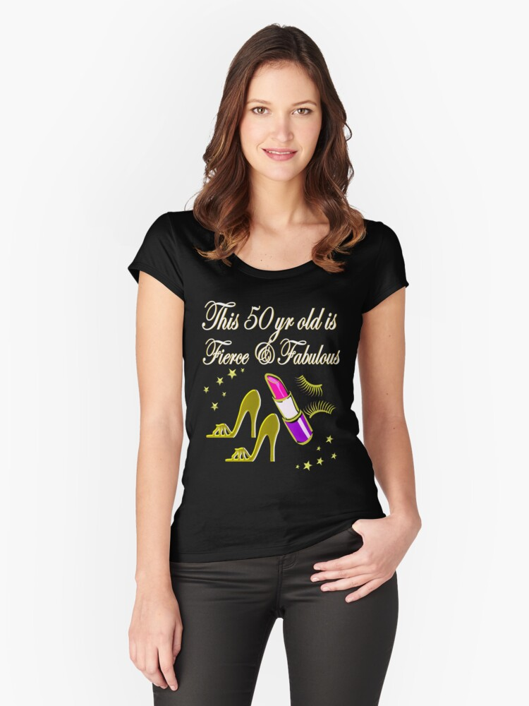 GOLD AND GLAMOROUS 50TH BIRTHDAY Women's Fitted Scoop T-Shirt Front