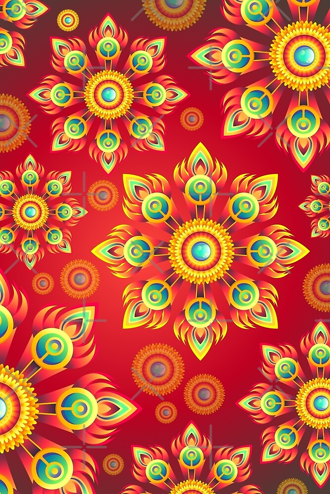 Red yellow floral abstract texture by pixxart