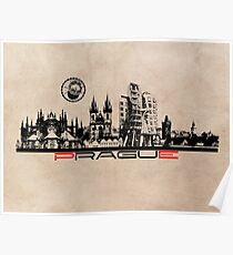 Prague skyline city art Poster