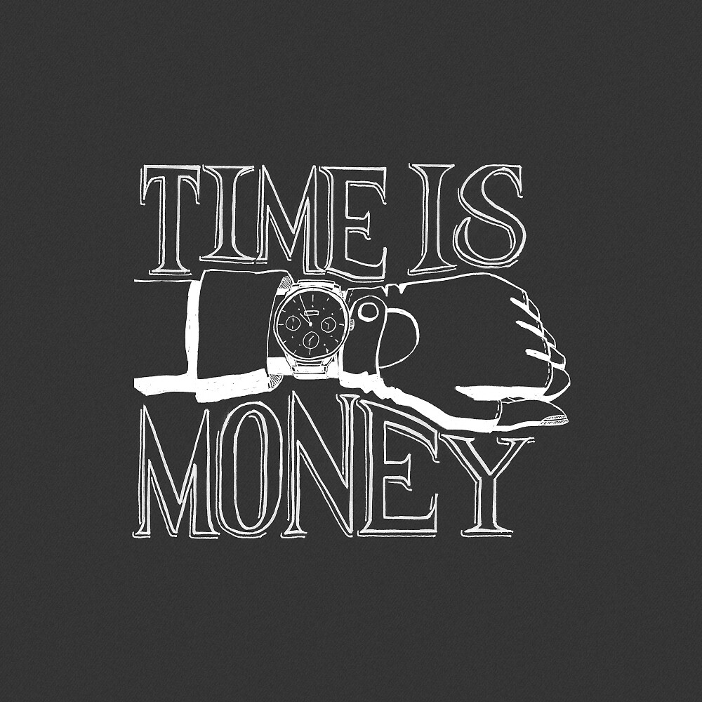Time is Money - Hand Lettering with Drawing - White on Gray by pixelmist