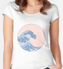 aesthetic wave Fitted Scoop T-Shirt