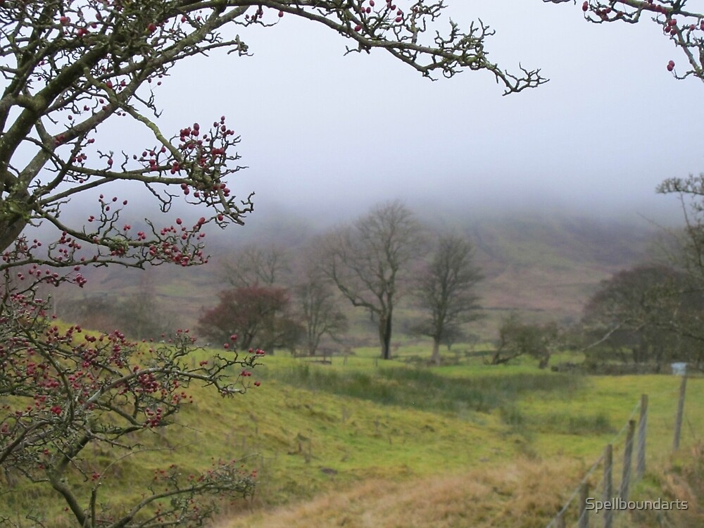 Pendle hill in the mist by Spellboundarts