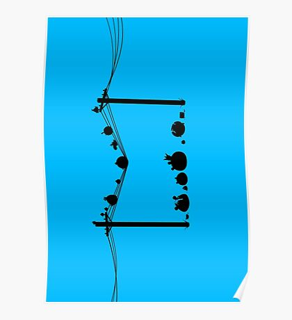 Angry Birds on a wire Poster