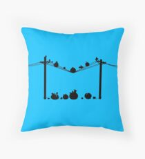 Angry Birds on a wire Throw Pillow
