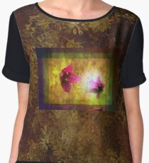 marriage of Titania; Salmon berry floral duet on brown  Women's Chiffon Top