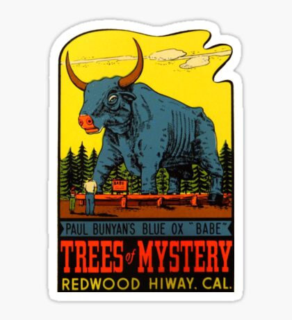 Blue Ox Babe Redwood Highway California Vintage Travel Decal Sticker
