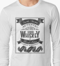 Whiskey Poster of alcohol with hand drawn lettering. Drawing for pub, bar menu, alcohol card, t-shirt print. Isolated of whiskey with lettering on chalkboard. Vector Illustration Long Sleeve T-Shirt