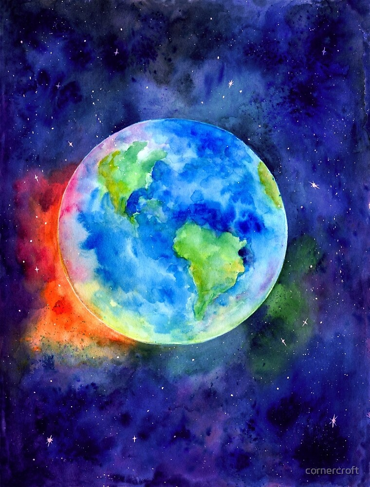 Watercolor Painting Earth by cornercroft