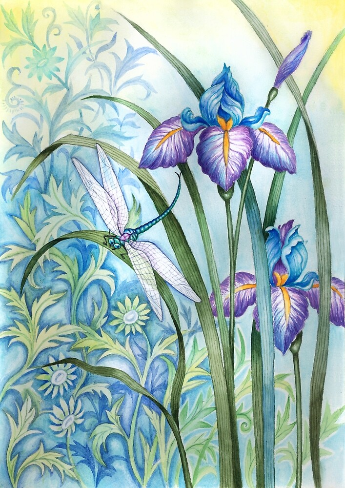 Iris and dragonfly scene by keh7