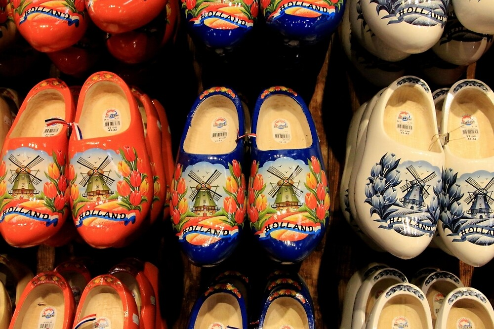 Wooden painted clogs, Holland by FranWest