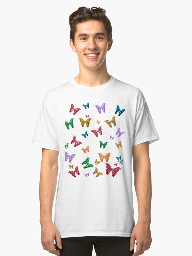 Many Butterflys Colorful Low Poly desing Classic T-Shirt Front