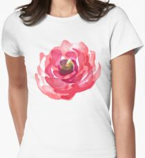 Watercolor Pink Peony Womens Fitted T-Shirt